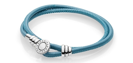 $56.000 - Double Leather Bracelet, Turquoise, Clear CZ